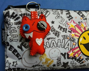 Cute red felt character keyring