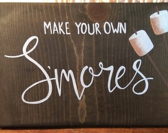 Smore bar sign, make your own smores,wood wedding signs