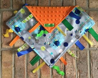 Sensory Blanket, Tag Blanket, Ribbon Blanket, Baby toy, Personalized tag Blanket