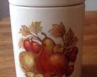 Crown Devon vintage Jelly Jar, Fruit and Nut pattern.