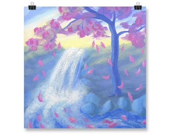 "Pink Sakura Tree, Poster Print, Nature Wall Art, Acrylic Painting with Waterfall, 10x10"", 12x12"""