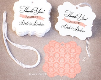 100 THANK YOU Wedding Tags | Personalized Wedding Favor Tags | Damask