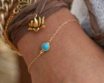 Turquoise Jasper Bracelet, Gold Bracelet, Thin Bracelet