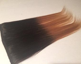 "14"" Black & honey Blonde OMBRÉ Human Hair Extension Fringe/Bang/Bangs"