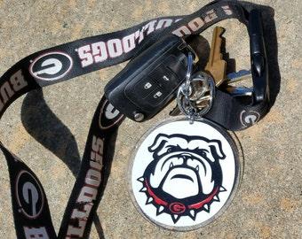 Georgia Bulldog Monogram Keychain