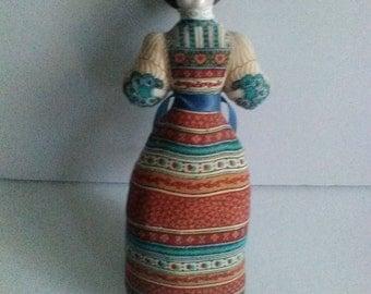 Avon American Heirloom Doll Ceramic Head Vintage 1971 Pin Cushion Lavendar Sachet