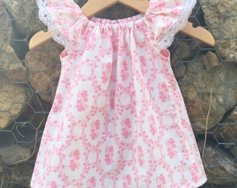Upcycled pillowcase Seaside flutter sleeve top size 1