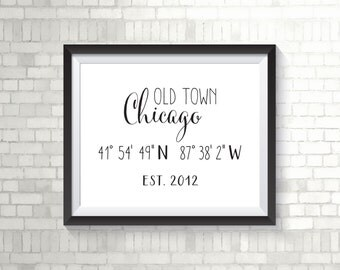 Custom City/State Name With Coordinates & Est. Year, GPS Coordinates, Home Sweet Home Print, Housewarming Gift, Wedding/Bridal Gift - (D081)
