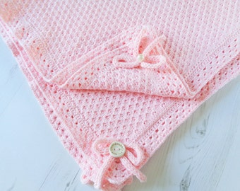 """Baby Blanket/ Choose Your Color/Cotton Knitted Baby Blanket/ Baby Wrap/ 30"""" x 33.5"""""""