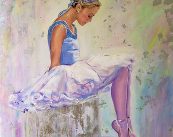 Ballerina painting,original ballet art,figurative painting,dance painting,dancer woman,white ballerina,blue ballerina,square painting