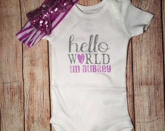 Hello World onesie, personalized onesie, baby girl onesie, baby shower gift, take home outfit, newborn outfit, personalized onesie with name