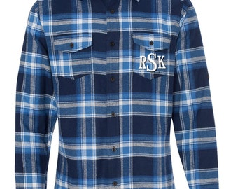 Monogrammed Flannel Shirt -  Mens Monogrammed Flannel  - Blue Plaid Flannel Monogram Shirt Monogrammed Button Down Shirt - Red Black Flannel