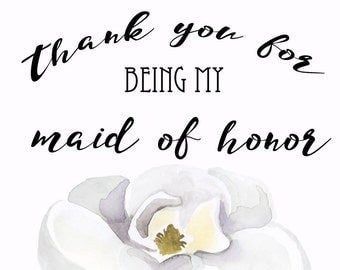 Thank you card to Maid of Honor