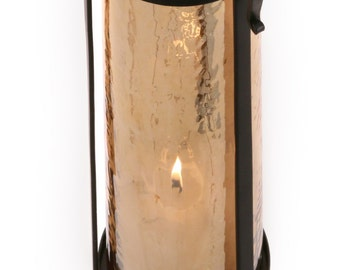 Wrought Iron Tall Candle Stand with Glass