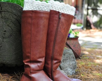 Crochet Boot Cuff,Boot Cuff,White off Boot Cuff,100% Cotton. MADE IN USA!