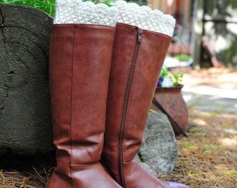 Crochet Boot Cuff,Boot Cuff,White off Boot Cuff,100% Cotton. MADE IN USA!