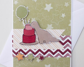 Handmade birthday dinosaurs card (brontosaurus eating cake)