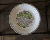 "Royal China 11"" Jeannette Corporation ""Americana"" Apple recipe pie pan"