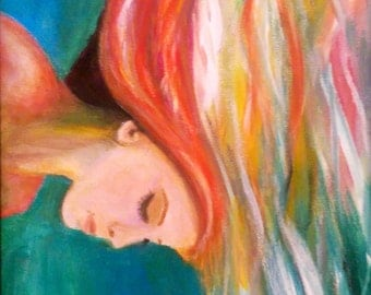 Under Water Girl Original Acrylic Painting on Canvas Board