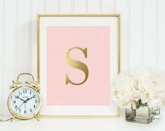 S Monogram Printable Poster 8 x 10 Downloadable Instant Art pink Decor monogrammed Anthropologie Wall golden Desk Typography Letter