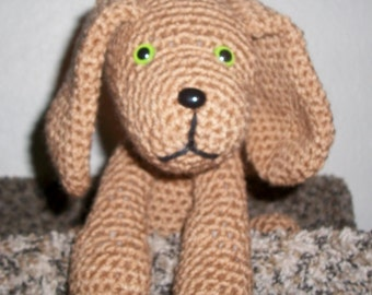 Handmade crochet stuffed puppy dog with safety eyes