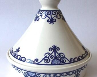 Tagine Tunisian White w/ Blue Accents