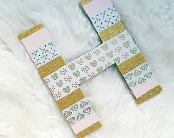 """8"""" Paper Mache, Custom, Washi Tape, Baby Shower, Baby Girl, Wedding decor, Table Decor, Parties (A - Z, &)"""