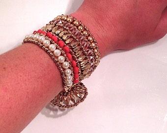 Gold Detailed Beaded Bohemian Cuff, Boho Bracelet