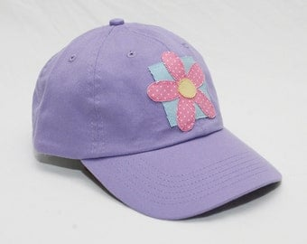 Ladies Baseball Cap with Flower Decal