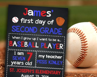 Baseball School Signs, Back To School Signs, Chalkboard Printables, First Day Of School, 1st Day Of 2nd Grade, Grade School Signs