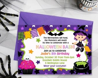Halloween Party Invitations, Halloween Birthday Party, Kids Party Invitations, Kids Birthday Party, Halloween Party Printables