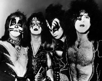 Kiss Paul Stanley, Gene Simmons Rock Band Glossy Black & White Music Photo Print Picture