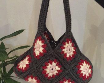 Crochet Bag / crochet purse / floral handbag / hobbo handbag / crochet brown bag
