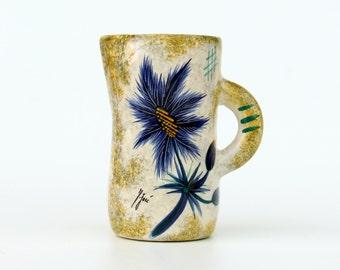 Vintage autographed jug with flower decoration