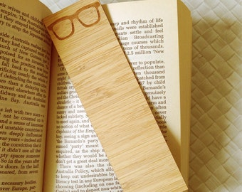 Laser Cut Bamboo Wooden Bookmark - Glasses