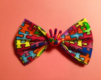 Autism Awareness with hand painted hair bow