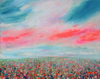 Original Acrylic Abstract Painting. Bright Flowers Field. Abstract art. Free shipping.