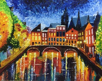 The bridge palate knife oil painting on canvas