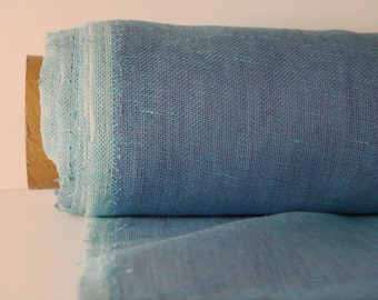 Blue Linen Fabric By Yard / Transparent Linen Farbic / Pure 100% Linen Fabric From Lithuania / Stone Washed Linen /  Striped Linen Fabric