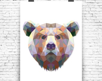 Bear Geometrical Wall Art Print