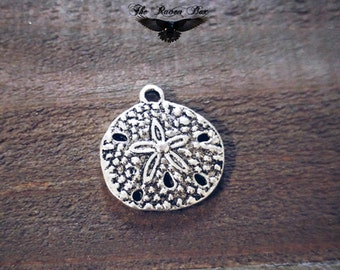 """Sand Dollar Charm Pendant Antiqued Silver Sand Dollar Ocean Charm Nautical Charm Charms by the Piece 20mm .78"""""""