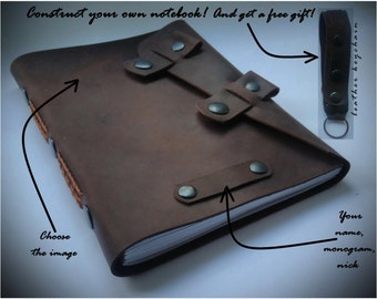 Refillable leather journal /Leather diary with refillable paper/Refillable notebook/ Leather sketchbook/ Leather gift