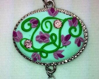 aqua,polymer clay, swarovski,pendant,necklace, beads, victorian jewelry