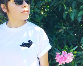 White T-shirt with black cat handmade embroidery
