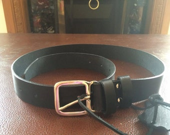 Formal black handmade belt