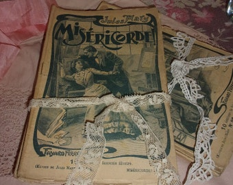 5 small former booklets, small novels 1900, deco shabby, romantic, France