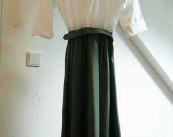 Vintage Olive Day Dress (1980s)