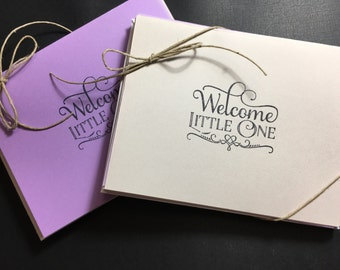 Set of 10 purple and gray welcome little one cards