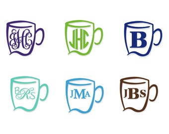 Monogram Decal | Vinyl Monogram Decal | Vinyl Decal | Coffee Decal | Coffee Monogram Decal | Monogram Vinyl Decal