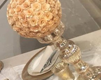 Birch Wood Rose Flower 7 inch Ball (kissing ball) Wedding Decoration